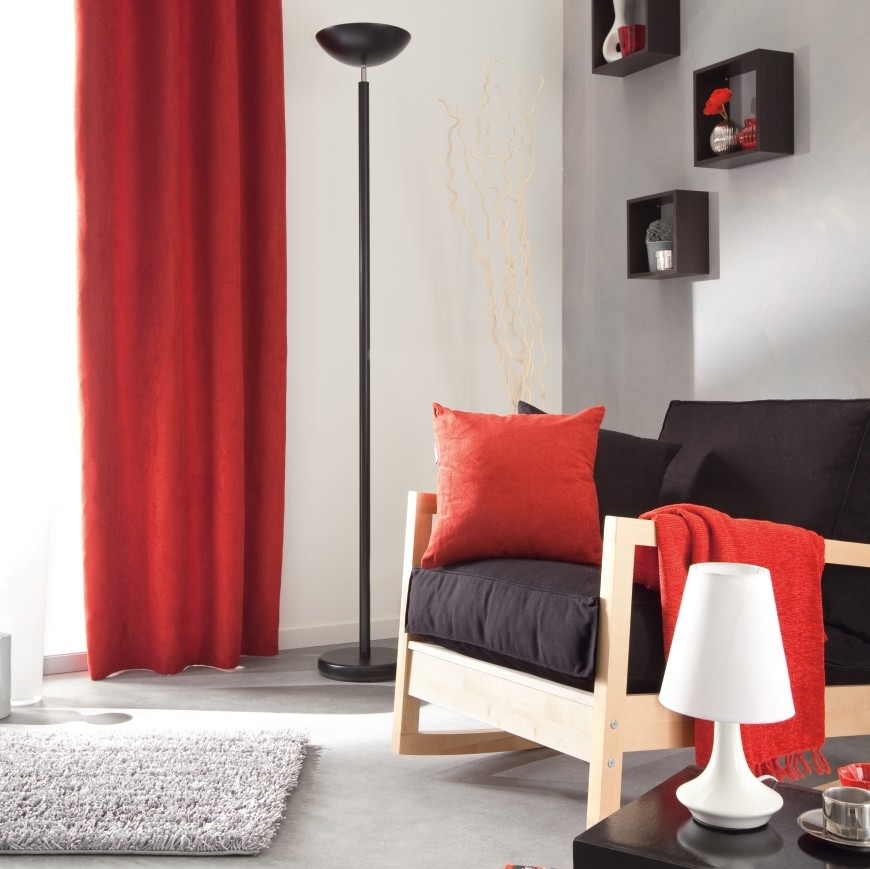 ordinaire rideau de cuisine rouge et gris 9. Black Bedroom Furniture Sets. Home Design Ideas