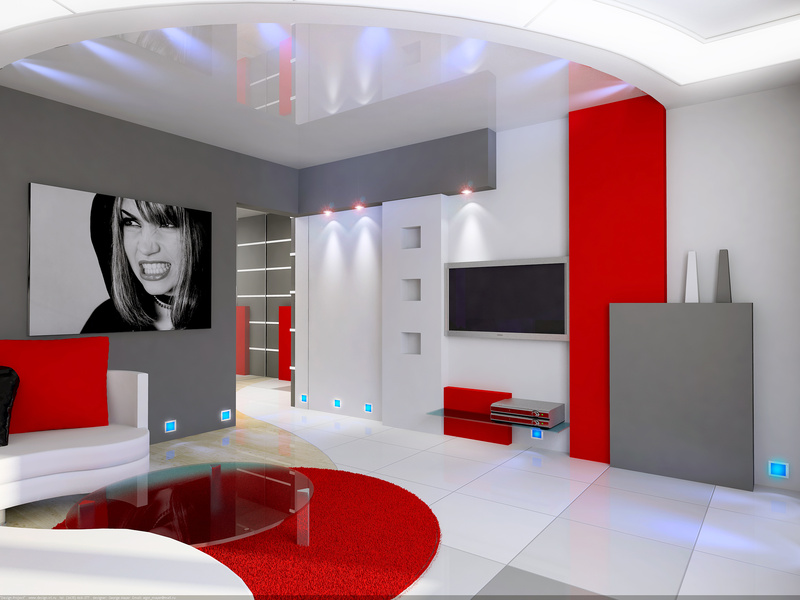 d co salon gris blanc et rouge