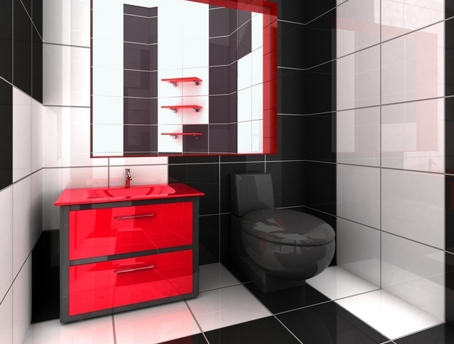 beautiful salle de bain noir et rouge gallery awesome. Black Bedroom Furniture Sets. Home Design Ideas