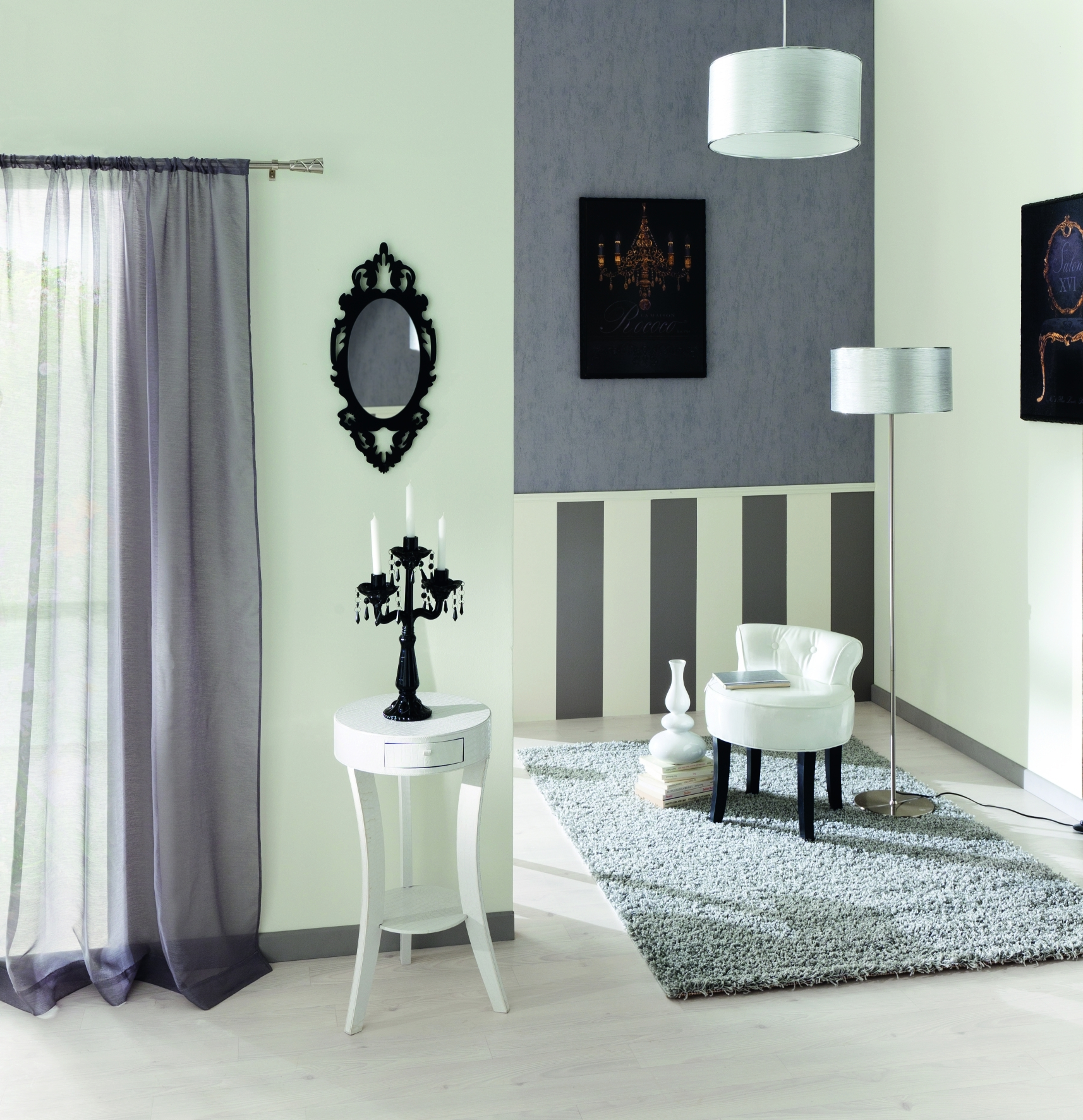 Papier peint chambre contemporain for Salon contemporain gris